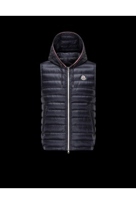 2017 New Style Moncler Mens Down Vest Fashion Hooded Zip Black