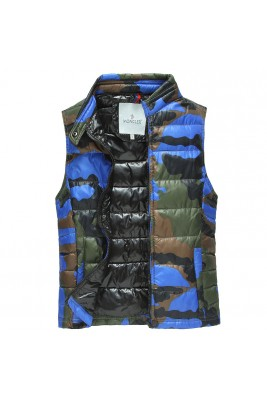 2017 New Style Moncler Cesar Down Mens Blue Vests Sleeveless Camouflage