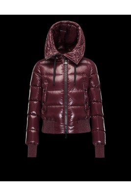 2017 New Style Moncler Bataillouse Women Down Jackets Zip Claret