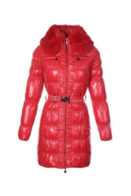 Moncler Classic Down Coat Women Zip Fur Collar With Belt Red