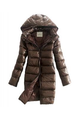Moncler Coats Down Women Smooth Shiny Fabric Coffee