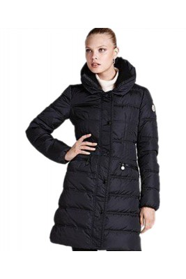 Moncler Coats Women Lapel Fashion Long Dark Blue