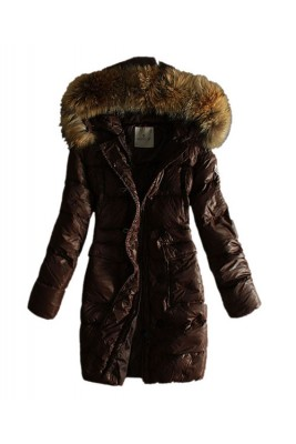 Moncler Coats Women With Belt Pure Coffee Long