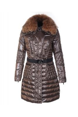Moncler Down Coat Women With Belt Long Brown