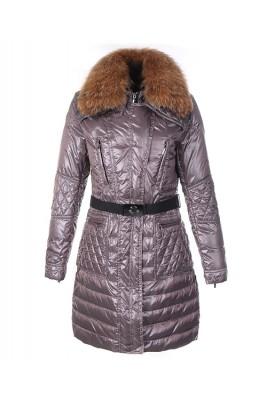 Moncler Down Coat Women With Belt Long Coffee