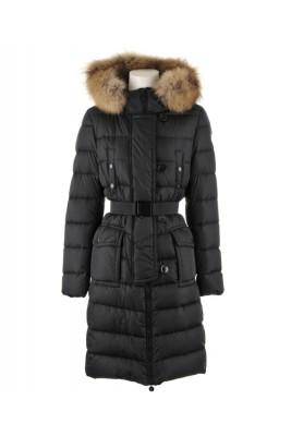 Moncler Genevrier Coats Women Fur Collar Long Black