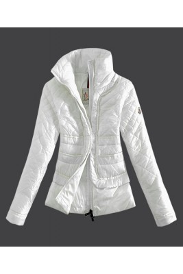 2016 Moncler Design Women Down Jacket Stand Collar White