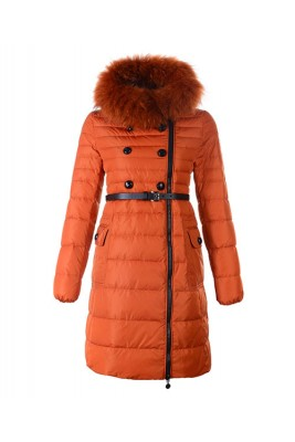 Moncler Herisson Fashion Coat Womens Long Orange