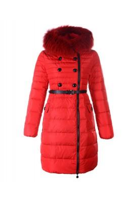 Moncler Herisson Fashion Coat Womens Long Red