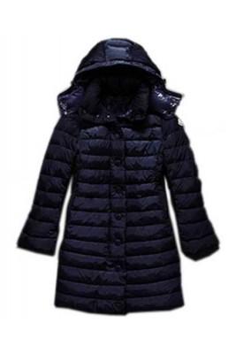 Moncler Jura Womens Down Coats Single Breasted Hooded Dark Blue