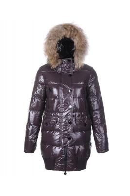 Moncler Loire Coat Women Fur Hoodie Zip With Button Coffee