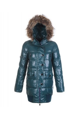 Moncler Loire Coat Women Fur Hoodie Zip With Button Green