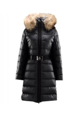 Moncler Nantesfur Top Quality Women Coat Belt Decoration Black