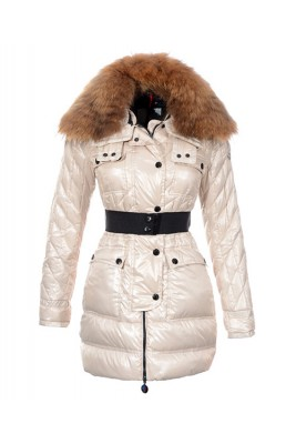 Moncler Safran Coats Women Shiny Fabric Beige Long