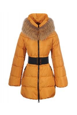 Moncler Sauvage Women Down Coat Fur Collar Long Orange