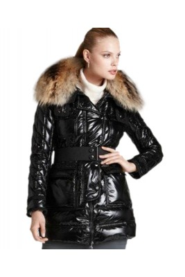 Moncler Women Down Coats Designer Metallic Fabric Black