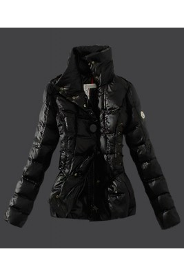 2016 Moncler Down Jackets Womens Stand Collar Black