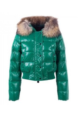 Moncler Alpin Classic Eider Down Jackets Women Fur Collar Green