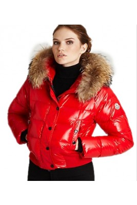 Moncler Alpin Classic Eider Down Jackets Women Fur Collar Red