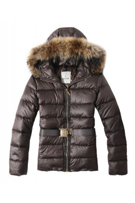 Moncler Angers Womens Jackets Decorative Belt Hooded Brown