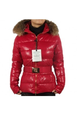 Moncler Angers Womens Jackets Decorative Belt Hooded Red