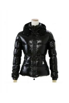 Moncler Badia Very Shiny Womens Down Jackets Black