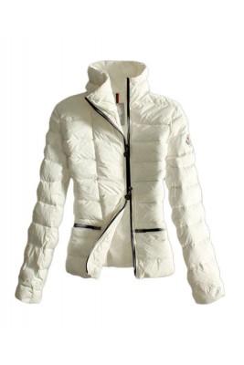 Moncler Down Jackets Womens Black Zip Pure Color White