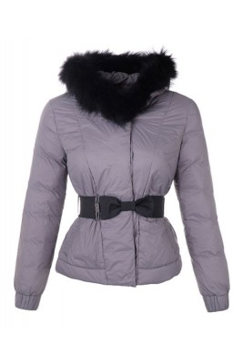 Moncler Fashion Leisure Jacket Women Long Sleeve Belt Grey