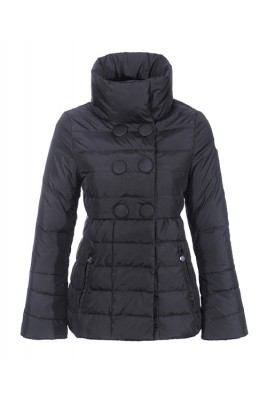 Moncler Johanna Featured Jackets Women Slim Stand Collar Black