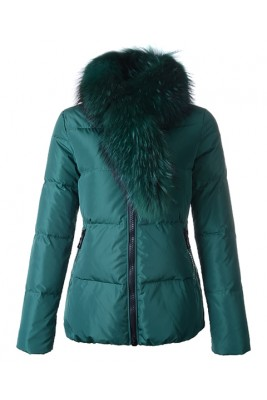 Moncler Lievre Classic Women Down Jackets Green Short