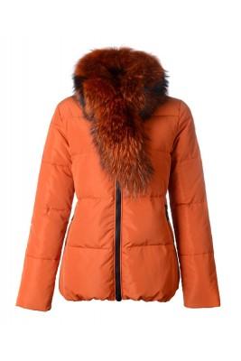 Moncler Lievre Classic Women Down Jackets Orange Short