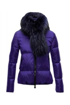 Moncler Lievre Classic Women Down Jackets Purple Short