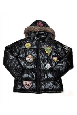 Moncler Multiple Logo Men And Women Down Jacket Hooded Black