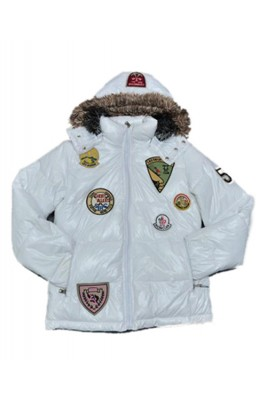 Moncler Multiple Logo Men And Women Down Jacket Hooded White