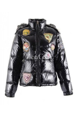 Moncler Multiple Logo Women Jackets Detachable Cap Black