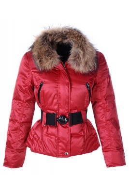 Moncler Popular Down Jackets For Women Decorative Belt Red