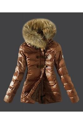 2016 Moncler Fashion Down Women Jacket Fur Collar Coffee