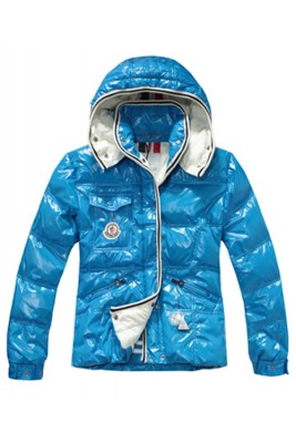 Moncler Quincy Women Down Jackets With Hat Sky Blue Short
