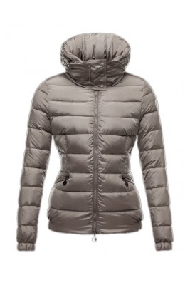 Moncler Sanglier Popular Jackets Womens Zip Collar Silver Gray