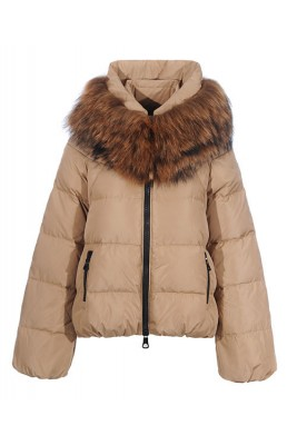 Moncler Sauvage Down Jackets Women Zip Fur Collar Cream