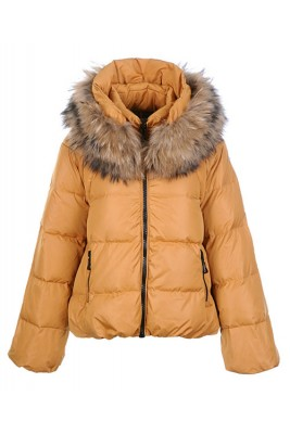 Moncler Sauvage Down Jackets Women Zip Fur Collar Khaki