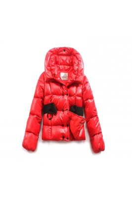 Moncler Womens Jackets Double-Breasted Decorative Belt Red