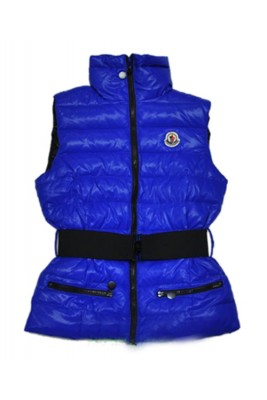 Moncler Branson Women Down Vest Belt Decorative Blue