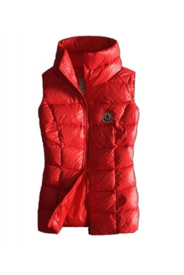 Moncler Designer Womens Down Vests Pure Color Red