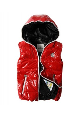 Moncler Down Vest Unisex Glossy Hooded Zip Red