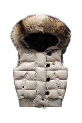 Moncler Tarn Womens Down Vest Rabbit Hats Zip White