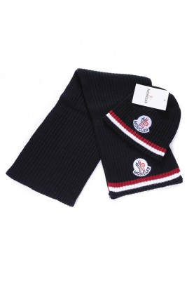 Moncler Scarf & Caps Pure Cotton Black