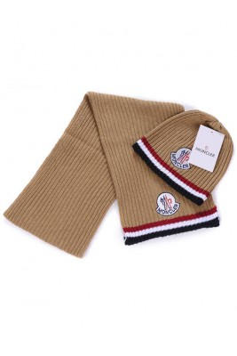 Moncler Scarf & Caps Pure Cotton Khaki