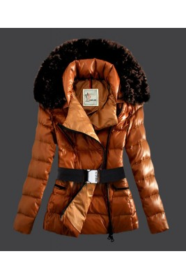 2016 Moncler Faucon Women Down Jacket Zip With Belt Yellow