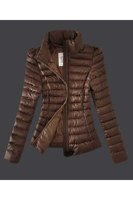 2016 Moncler Jackets Womens Zip Slim Stand Collar Coffee